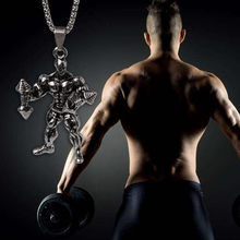 JAVRICK Muscle Men Stainless Steel Body Builder Weightlifter Dumbbell Pendant Necklaces for strong man creative gift(China)