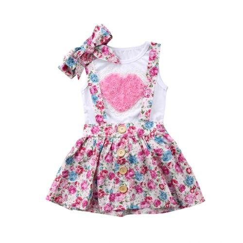 Для новорожденных одежда для малышей Дети Девочка сестра соответствующие одежда из хлопка футболка цветок любви платье overals Шорты для женщ... ...