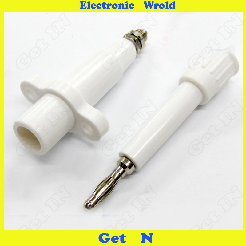10pcs 4mm Banana Plug Connector Jack One Pure High Pressure Resistance Docking 10KV 10A Round White