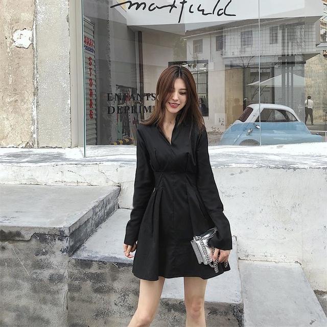 Summer Korean Long Sleeve Shirt Elegant Ladies Dresses
