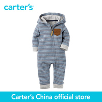 Carters One Piece Hoodie Jumpsuit 100 Cotton Baby Children Cloth Zip Stripe Bodysuit Sold By Carters