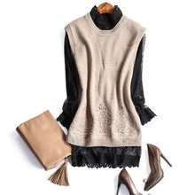 Europe and the United States women's new winter 2016 Two-piece wool sweater vest + lace render unlined upper garment
