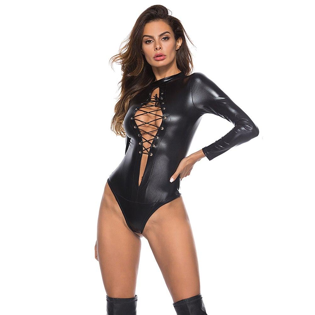 Sexy PU Leather Lingerie Bodysuit 6