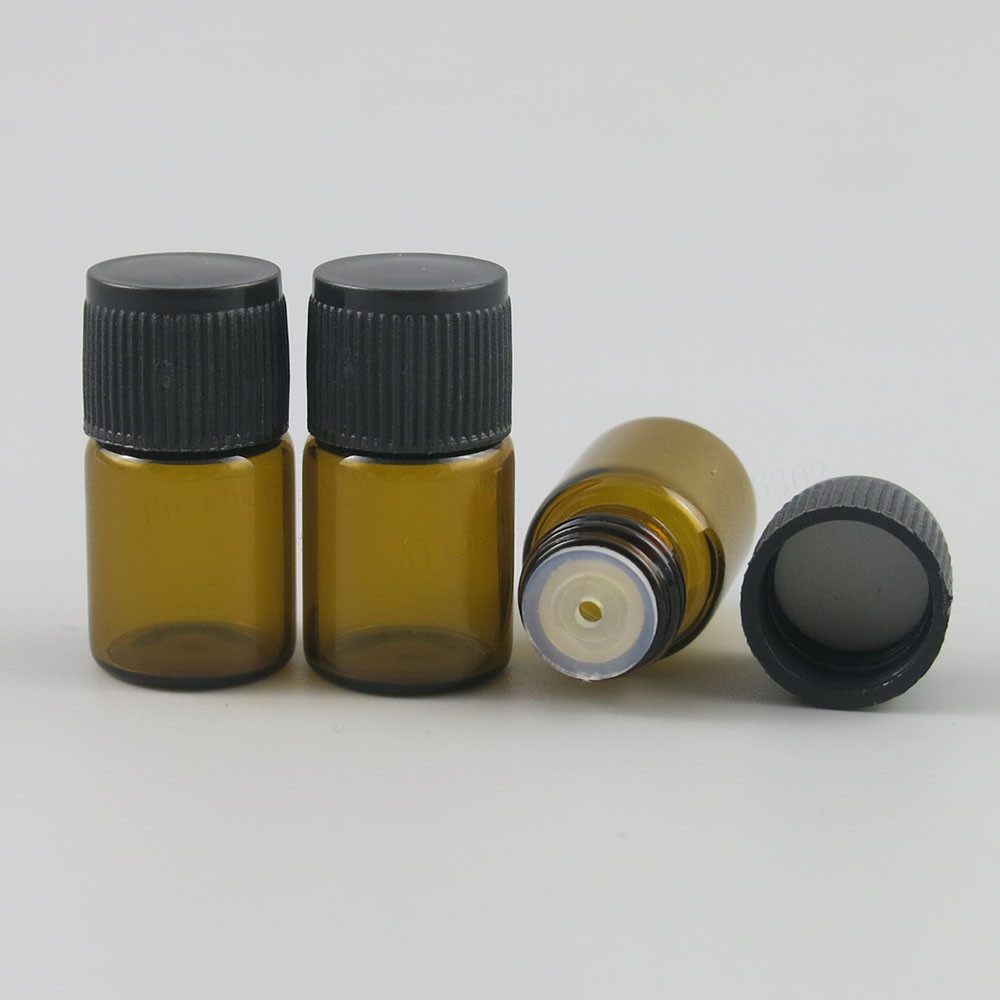 100 X 2ML Mini Amber Glass Essential Oil Bottle Orifice Reducer Cap Brwon Glass Vials Small Glass Bottle For E Liquid