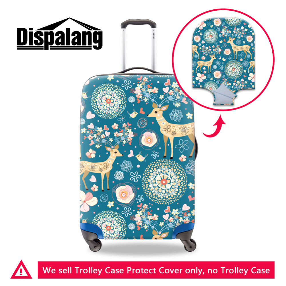 Dispalang Funny Animal Luggage Protective Covers For 18-30 Inch Trolley Case Flower Deer Elastic Dust Waterproof Suitcase Cover