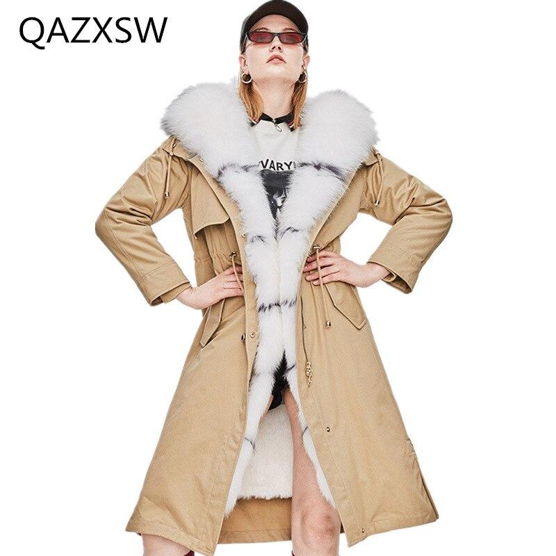 2018 Новинка зимы Для женщин реального шуба большой кос волосы воротник куртка с капюшоном может быть отсоединены кролика волосы лайнер тепл