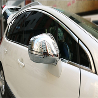 WELKINRY car auto cover overlay For Peugeot 3008 2013 2014 2015 ABS chrome side wing fender rearview door back mirror cap trim