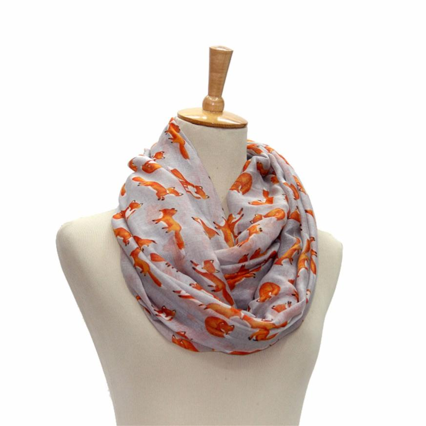 New Arrival Women Ladies Fox Pattern Print Voile   Wrap   Shawl   Scarf   Popular Breathable Neckerchief Elastic Soft Tippet   Scarves