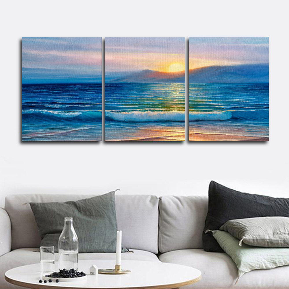 Laeacco Canvas Calligraphy Painting Sea Sunrise Nordic Wall Artwork Posters and Prints Abstract Living Room Home Decor