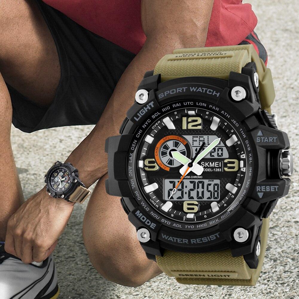 Image 2 - Skmei novo s choque masculino esportes relógios grande dial  relógio digital de quartzo para homens marca luxo led militar à prova  dwaterproof águawatch bigwatch forwatches for men