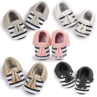 NEW Styles Baby Soft PU Leather Tassel Moccasins Girls Bow Moccs Baby Booties Shoes Moccasin Red