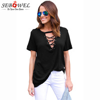 SEBOWEL 2018 Casual Summer Women Tops Black Short Sleeve Cotton T Shirt Ladies Deep V Neck