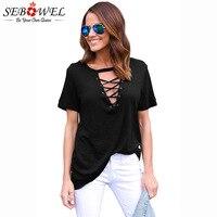 SEBOWEL 2018 Casual Summer Women Tops Black Short Sleeve Cotton T Shirt Ladies Deep V Neck