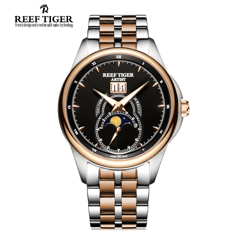 Reef Tiger/RT Dress Watches for Men Big Date Two Tone Rose Gold Moon Phase Watches RGA1928 2x yongnuo yn600ex rt yn e3 rt master flash speedlite for canon rt radio trigger system st e3 rt 600ex rt 5d3 7d 6d 70d 60d 5d
