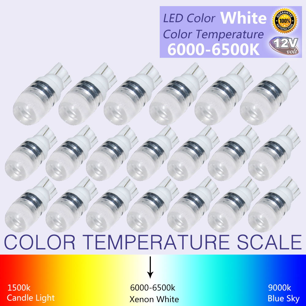 20Pcs New White Super Bright T10 LED Light 1 5W W5W 194 192 168 DC 12V