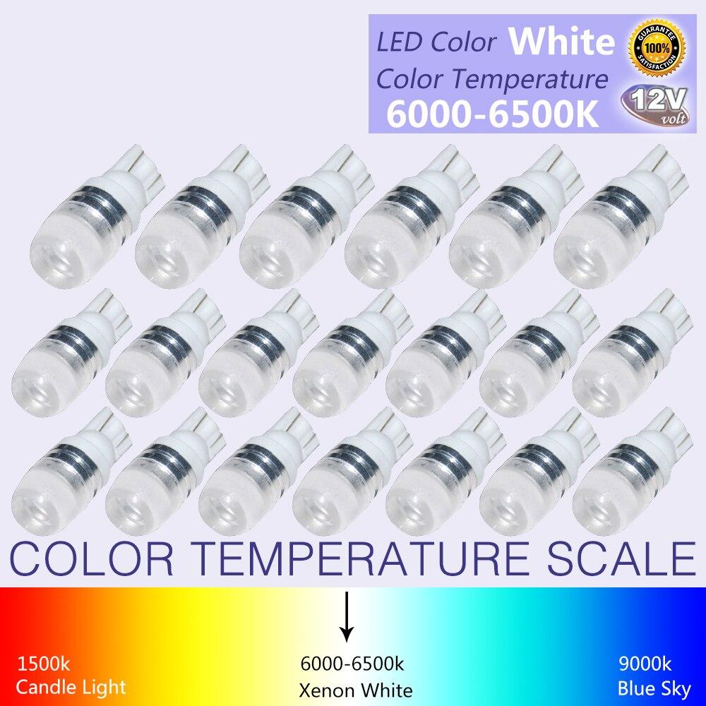 20Pcs New White Super Bright T10 LED Light 1 5W W5W 194 192 168 DC 12V