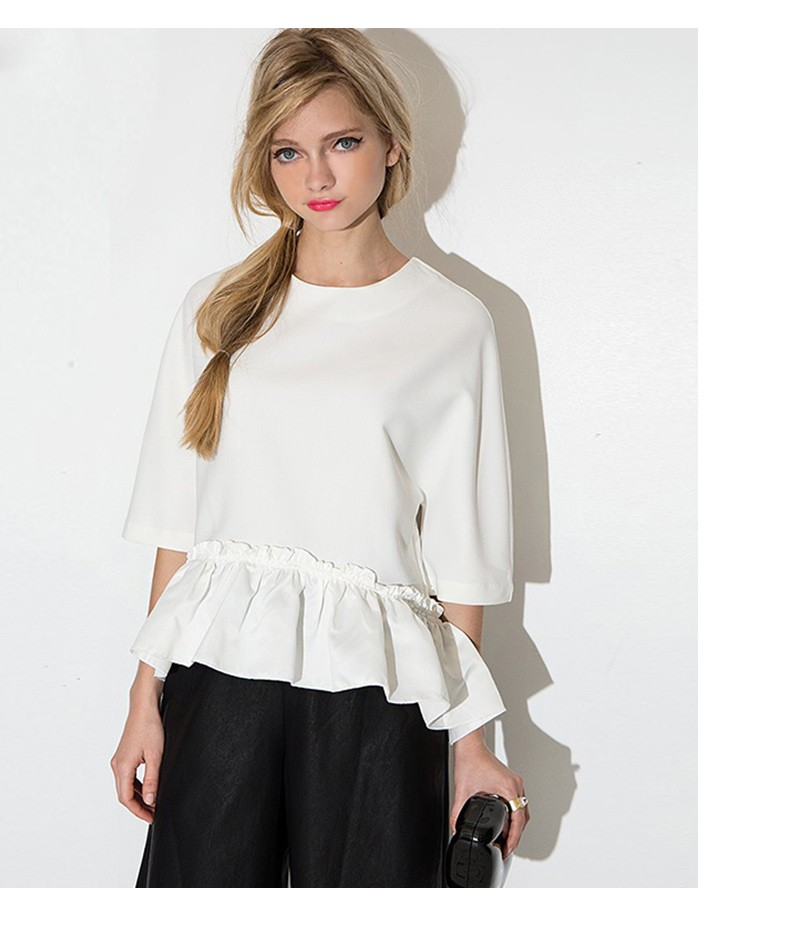 HTB1iGanMVXXXXXPXVXXq6xXFXXXA - New Women Elegant Ruffle Tee Shirt Asymmetric Top Summer