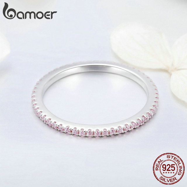 BAMOER 925 Sterling Silver Pink Crystal Wedding Female Rings for Women Simple Geometric Ring Sterling Silver Jewelry SCR066 4