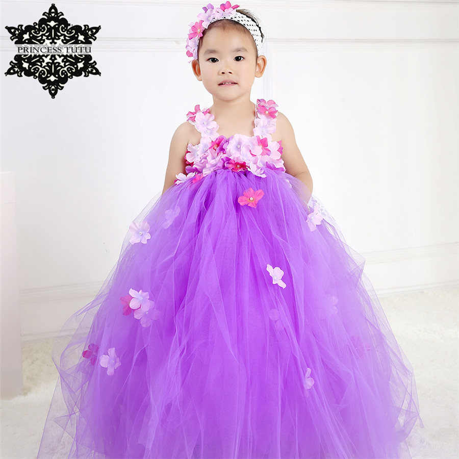 Princess Tutu Purple Teenager Girl Dresses For Wedding Party Kids ...
