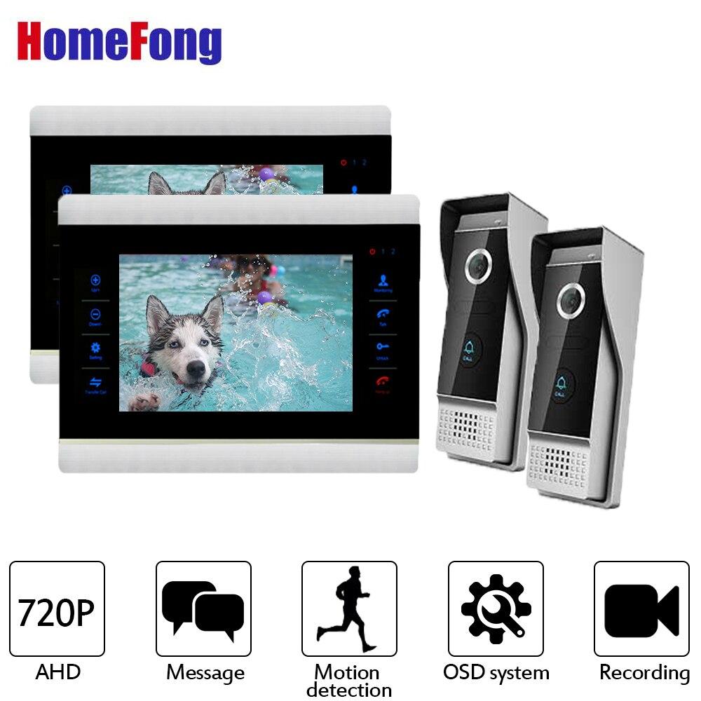 Homefong AHD видео домофон 2 Мониторы HD видео звонок Поддержка обнаружения движения 7 дюймов видео Interom проводной дверной звонок и пуговицы