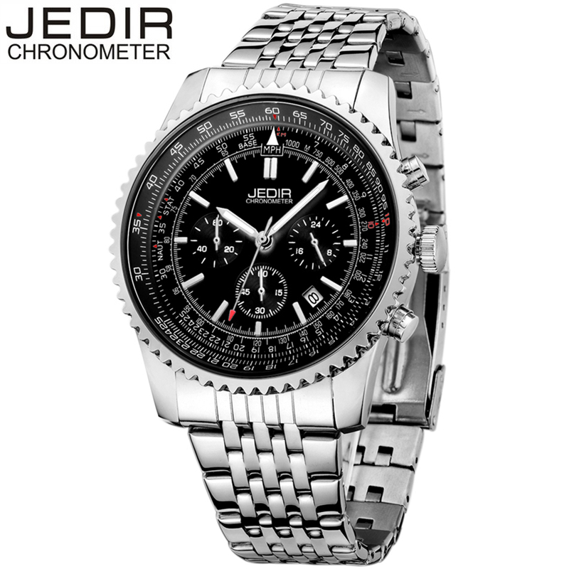 JEDIR Men Japanese Quartz Watch Man Stainless Steel Auto Date Chronograph Fashion Casual Military Wristwatches Male Montres 2008 jedir 3010 male quartz watch