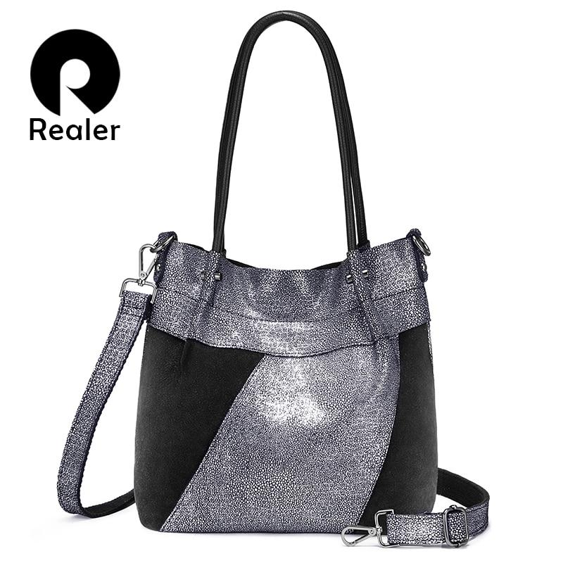 REALER genuine leather shoulder bag designer Hobo bag luxury handbags large tote female high quality crossbody