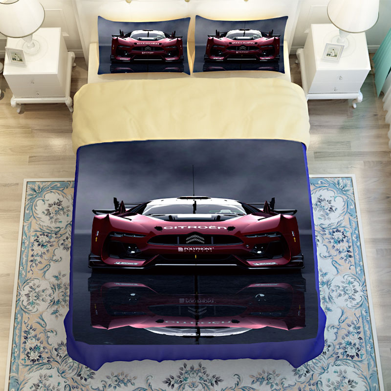 Blue and Red 3d Print Race Car Bedding Set Twin Queen King Size,High Quality Polyester Fabric Quilt Cover Pillowcase Bed Covers