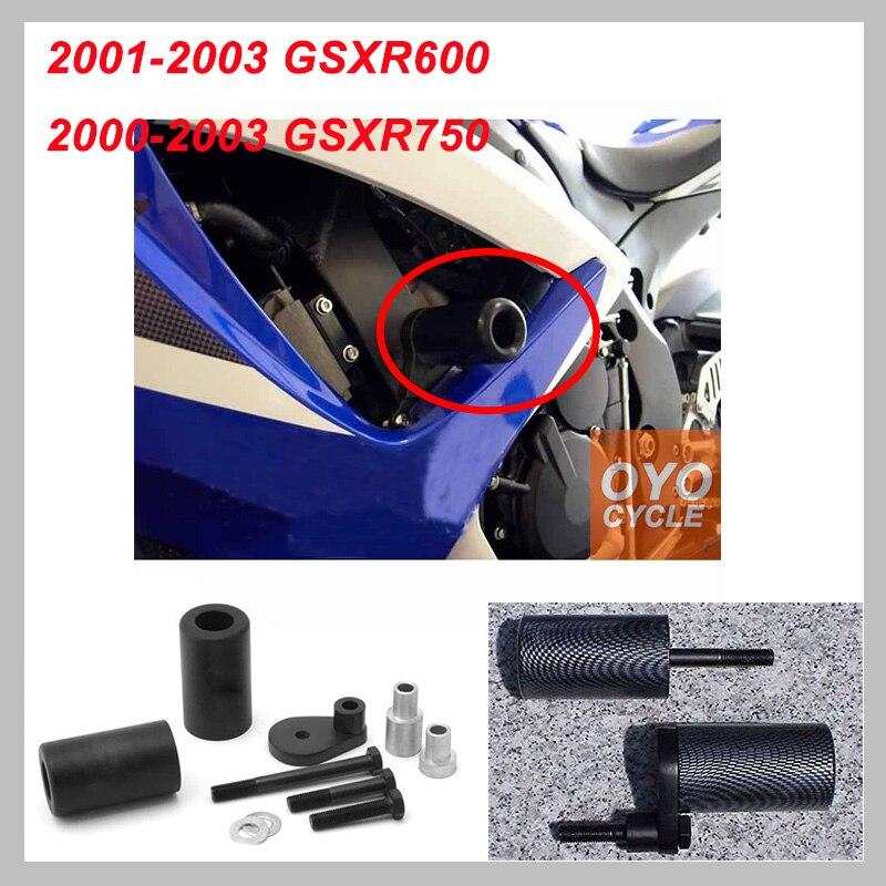 Black No Cut Frame Slider Pad For Suzuki GSXR600 GSXR750 GSXR GSX-R 600 750 2000 2001 Crash Falling Protection Motorcycle Parts