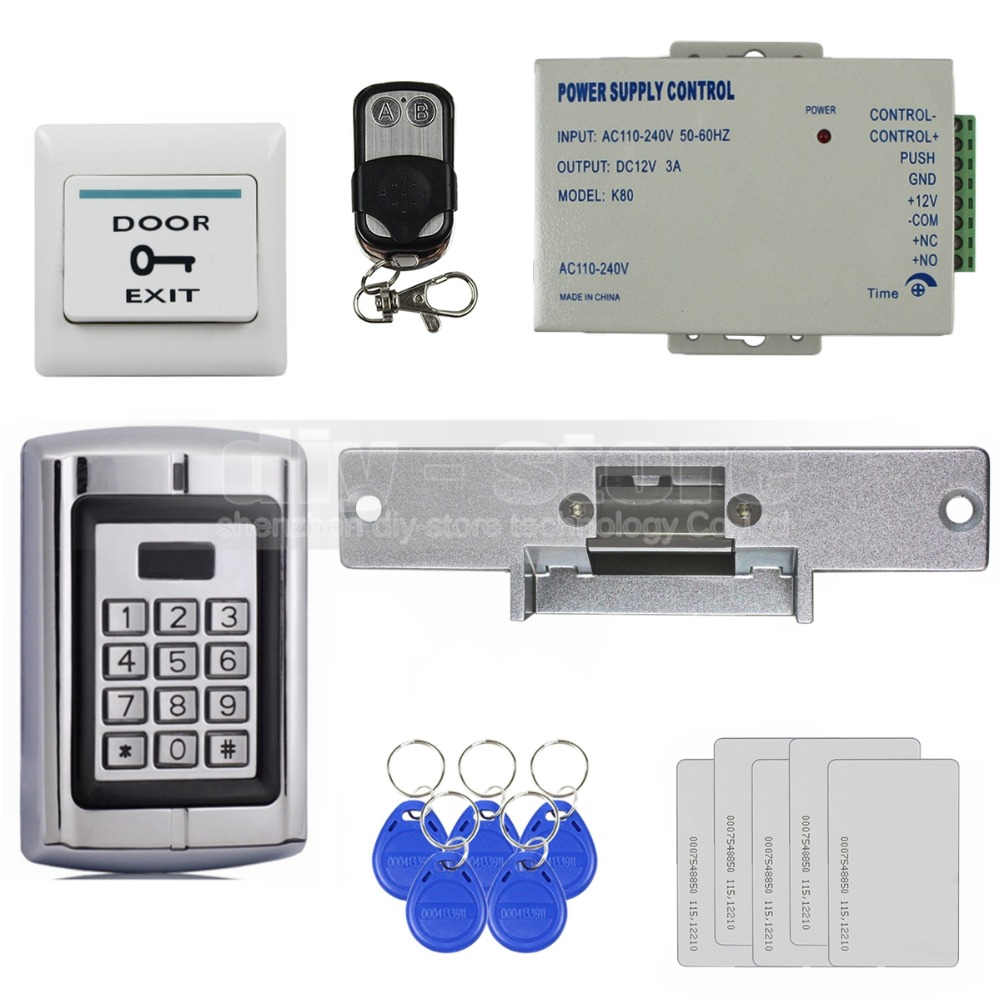 DIYSECUR Strike Lock 125KHz RFID Reader Password Metal Keypad Access Control System Security Kit Remote Control BC2000 metal shell touch keyboard 125khz rfid access control system entrance guard password and rfid 10pcs crystal keyfob