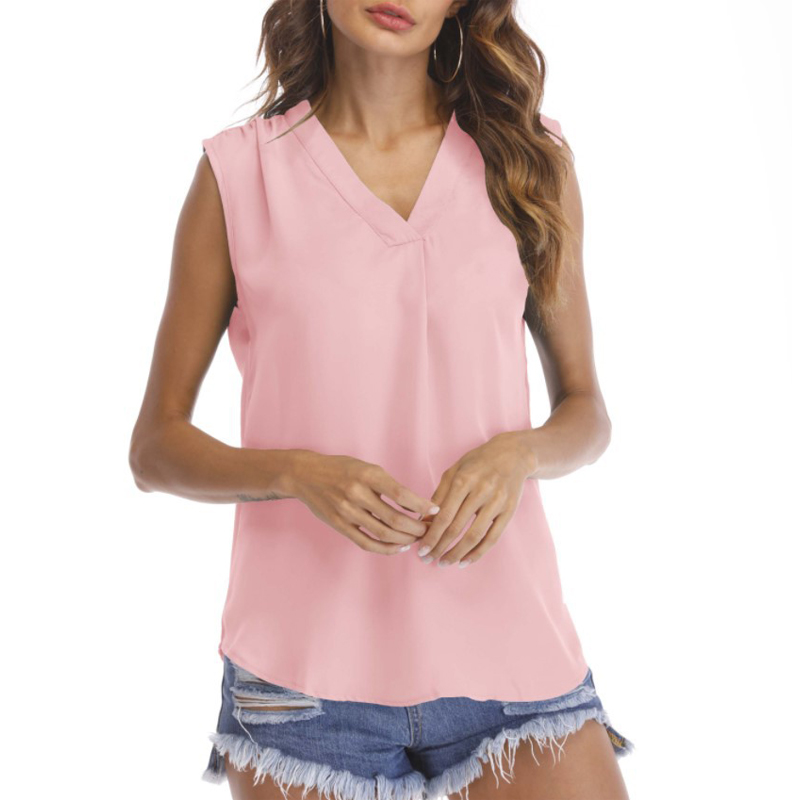 2019 Summer Blouse Tops Women Casual Loose Sleeveless Shirts Solid V neck Chiffon Blouses Female Shirts Vest Women Clothing in Blouses amp Shirts from Women 39 s Clothing