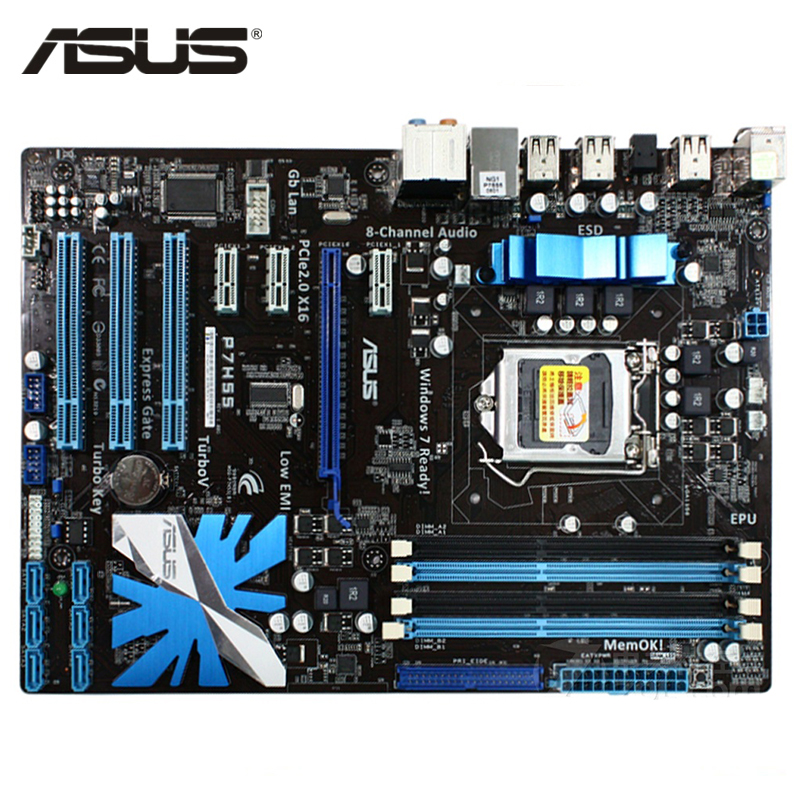 ASUS P7H55 Motherboard LGA 1156 DDR3 16GB For Intel H55 P7H55 Desktop Mainboard Systemboard SATA II PCI-E X16 Used AMI BIOS asus p5g41t m lx3 plus motherboard lga 775 ddr3 8gb for intel g41 p5g41t m lx3 plus desktop mainboard systemboard sata ii used