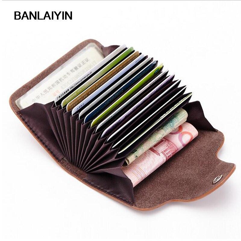 Nouveau mode femmes hommes porte-carte de crédit en cuir boucle portefeuille unisexe ID détenteurs paquet sac à main