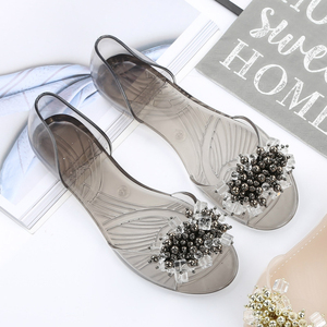 Image 4 - SWYIVY Plastic Jelly Shoes Crystal Flats Shoes 2018 Woman Casual Shoes Summer Beach Sandals Lady Comfortable Shallow Mouth Flats