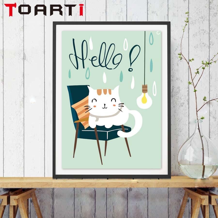 Cartoon Cute Cat Lies In The Chair Hello Word Canvas Art