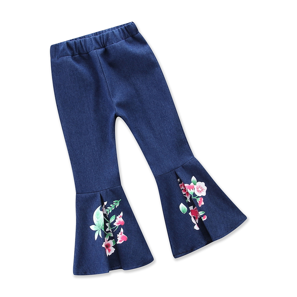 Girl Pant Spring and Autumn Girls Leggings Cowboy Floral Print Flared Trousers Childrens ...