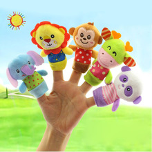 5Pcs/Set Children Toy Finger Doll Baby Hand Puppet Kid Early Education Family Interactive Cute Cartoon Animal Plush Toys FJ88