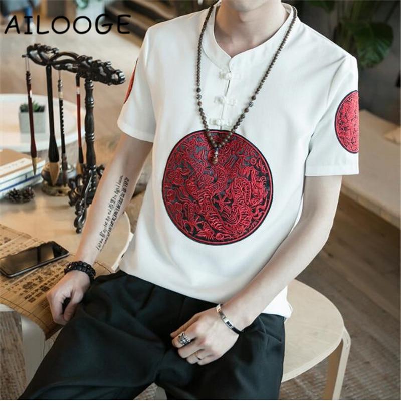 Classic Pan Kou Design T Shirt Men Summer Brand New Chinese Style Linen Mens T-Shirts Dragon Embroidery Short Sleeve Tops&Tees