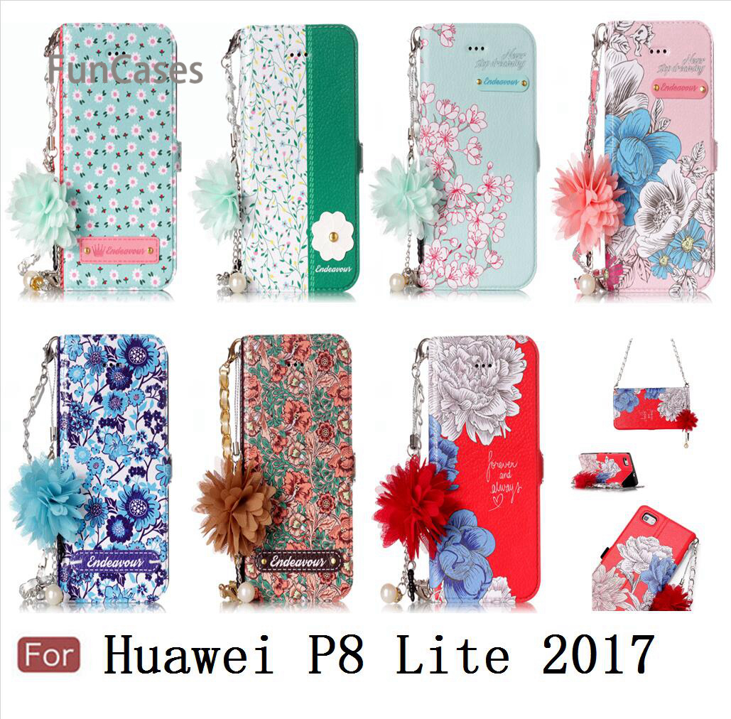 Pretty Cherry Blossoms Case sFor Hoesjes Huawei P8 Lite 2017 PU Leather Bead Chain Balr Case Huawei Ascend P8 Lite 2017 5.2""