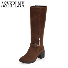 Nubuck Flock leather Brown round toe Square heel women knee hjgh Martin boots,2014 Autumn fashion metal buckle ladies shoes