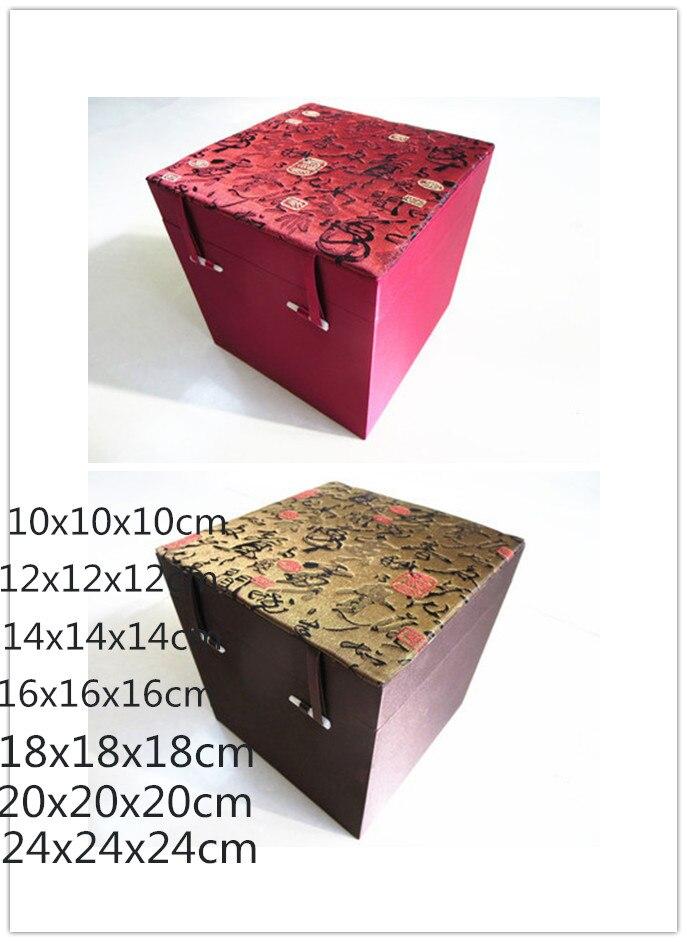 Лучший!  Роскошный Квадратный Куб Китайская Деревянная Коробка для Ювелирных Изделий Шелковая Ткань Коробка
