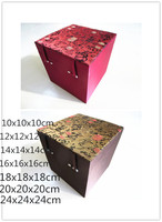 Luxury Square Cube Chinese Wood Box for Jewelry Silk Fabric Storage Box Vintage High End Crafts Gift Trinket Collection Box