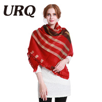 Winter Warm Square Scarf For Lady Plaid Blanket Women Scarf Luxury Brand Big Size Tartan Feminino