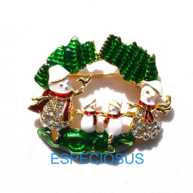 Brooch Pins Christmas Fashion Jingle Bell Rhinestones Brooch Breastpin Jewelry Gift for Women