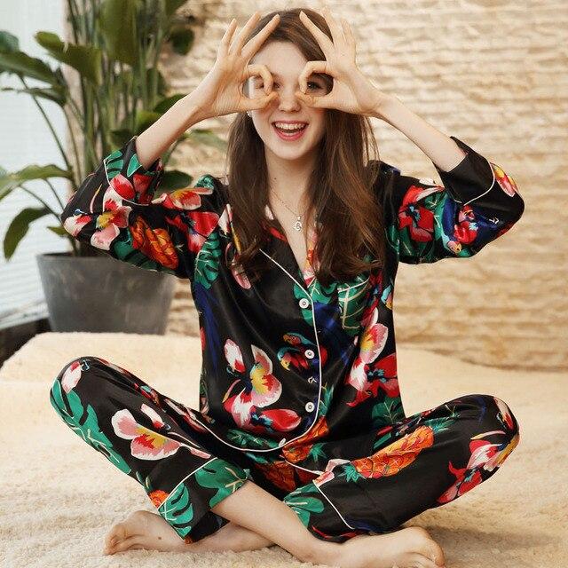 Sexy Silk Satin Pajama 2PCS Set XXL For Women Tropical Print Sleepwear Long Sleeve Trouser Summer Spring Pajama Set Nightwear
