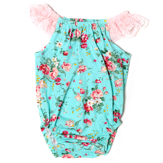 2017 New Wholesale Baby Floral Print Boho Bubble Romper Girls Playsuit Shabby Chic Birthday
