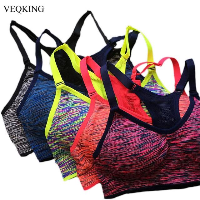 VEQKING Sneldrogende Sportbeha, Vrouwen Padded Wirefree Verstelbare Shakeproof Fitness Ondergoed, Push Up Naadloze Yoga Running Tops
