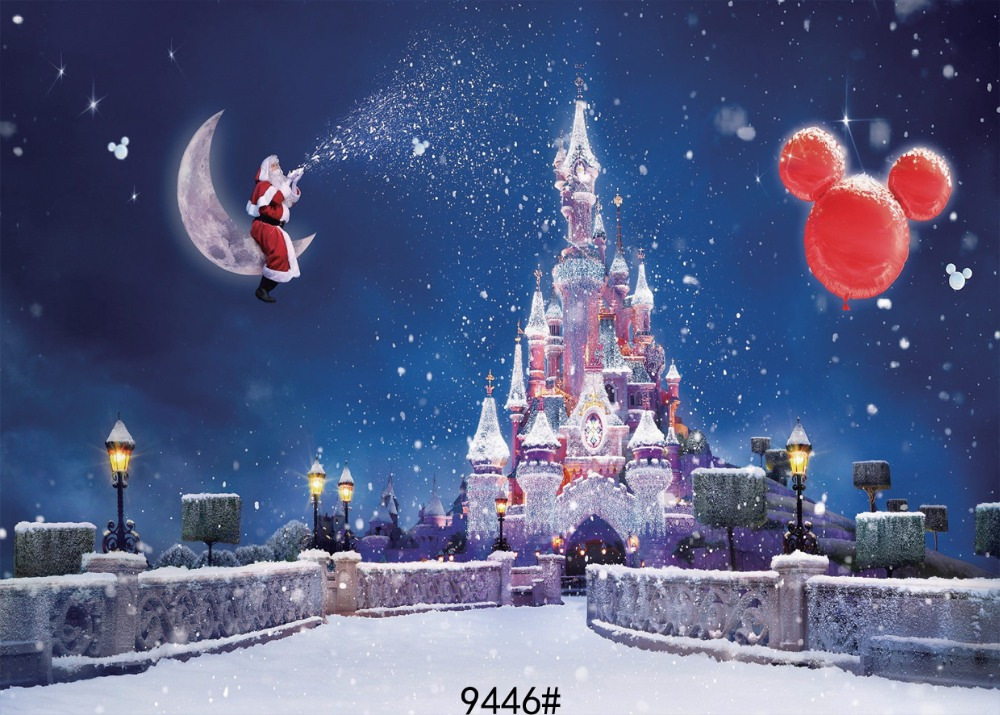Christmas Castle photography background  210x150cm Fond studio photo vinyle Photography-studio-backdrop Photo background christmas backdrops christmas background snow photography background fond studio photo vinyle photography studio backdrop5x7ft