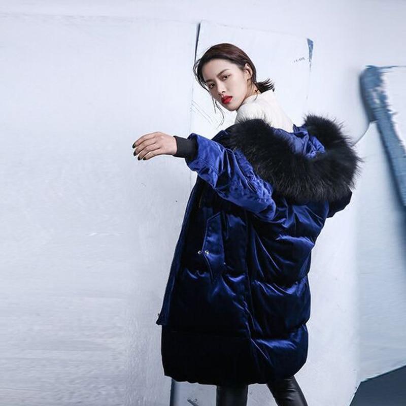 Large Real Natural Raccoon Fur 2018 Winter Jacket Women Long Parka White Duck Down Jacket Christmas Navy Blue Suede Velvet Coat