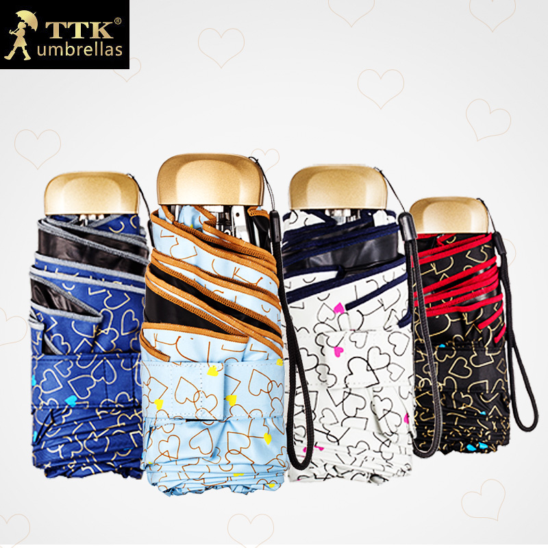 TTK Mini Pocket Umbrellas Women Five Folding Rain Umbrella Black Coating Anti UV Sunscreen Parasol Heart
