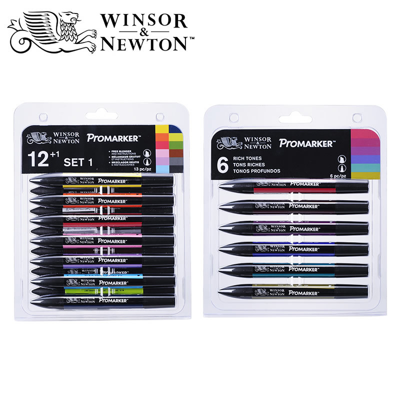 6/12 Colors Windsor Newton Profession Level Pigment Marker Pen set Alcoholic Brush Pen Sketch for Drawing Manga Fashion Design promotion touchfive 80 color art marker set fatty alcoholic dual headed artist sketch markers pen student standard
